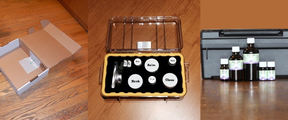 Photo of hide in nosework box, nosework kit and essential oils stored in tackle box