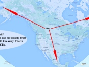 Photo of a map showing the distance from Calgary to Greenland and Mexico City