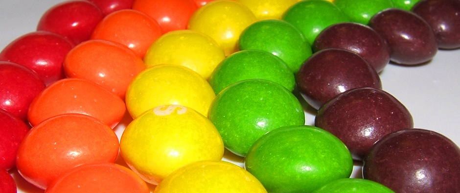 Photo of Smarties candies sorted by color